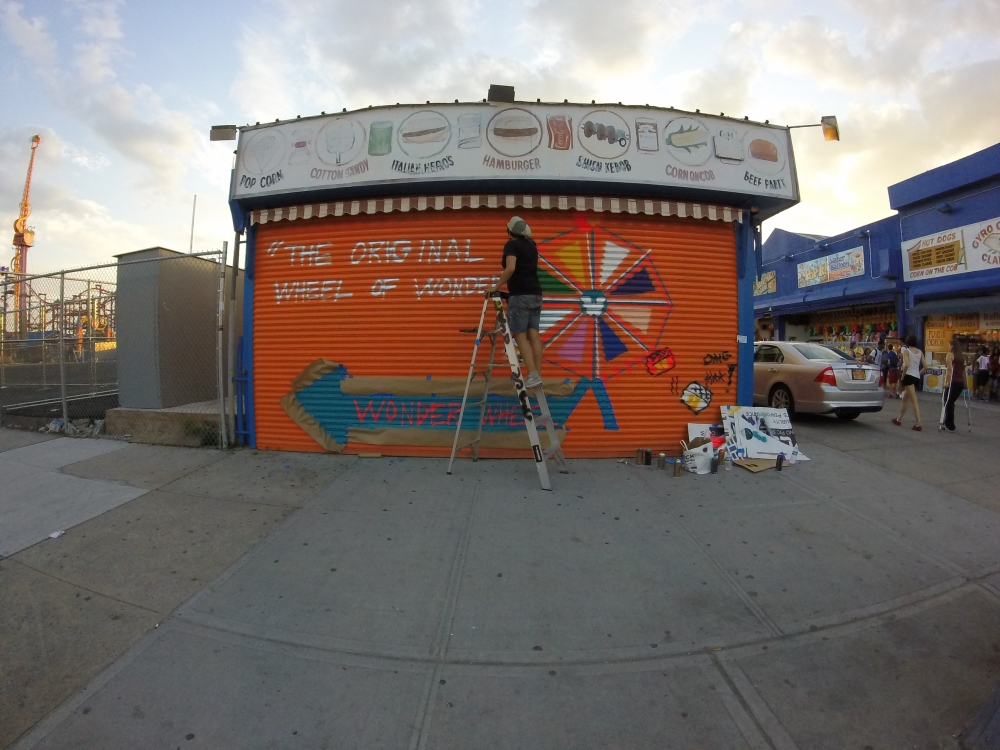 Working on the Wheel mural